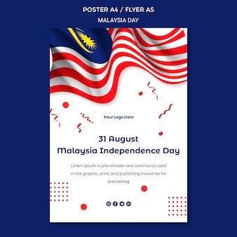 31 de agosto modelo de papelaria pôster do dia da independência da malásia
