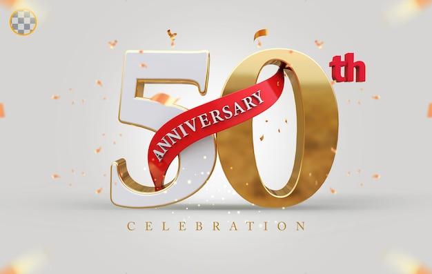 3d 50º aniversário com estilo dourado