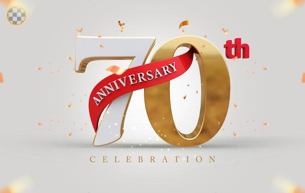 3d 70º aniversário com estilo dourado