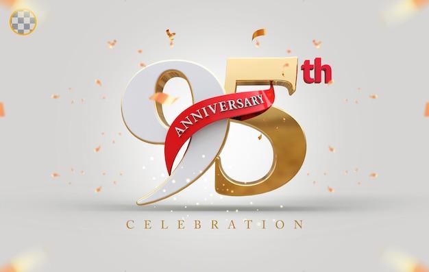 3d 95º aniversário com estilo dourado