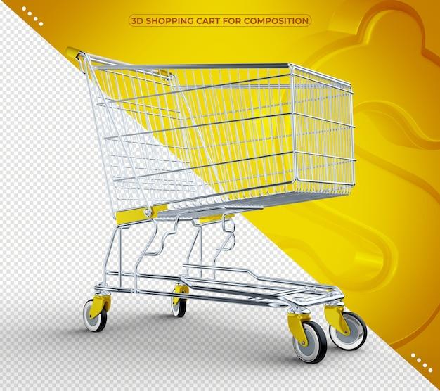 3d amarelo isolado carrinho de compras isolado