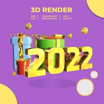 3d ano novo 2022 com caixa de presente em cores