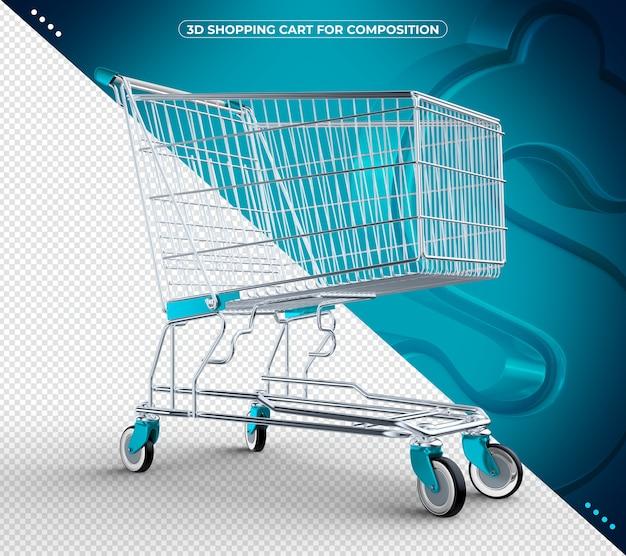 3d azul claro isolado carrinho de compras isolado
