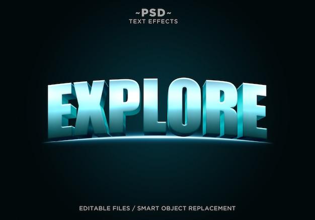 3d azul explorar efeito editável texto editável