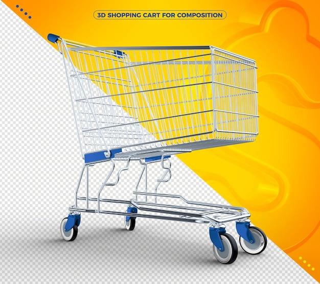 3d azul isolado carrinho de compras para composição isolada