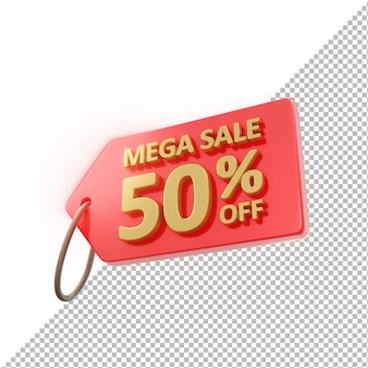 3d badge mega sale 50% off isolado