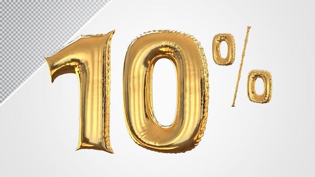 3d balão de 10 por cento dourado
