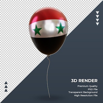 3d balão síria bandeira realista renderização vista frontal