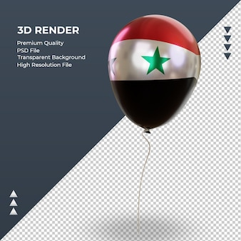 3d balloon syria flag folha realista renderizando vista direita