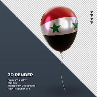 3d balloon syria flag folha realista renderizando vista esquerda