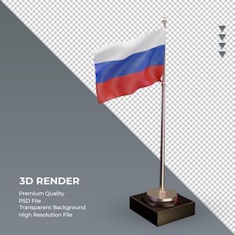 3d bandeira da federação russa renderizando a vista esquerda Psd Premium