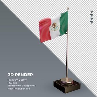 3d bandeira do méxico renderizando a vista esquerda