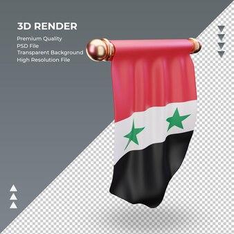 3d bandeira flâmula da síria renderizando a vista esquerda