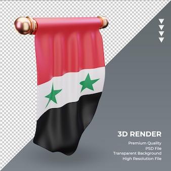 3d bandeira flâmula da síria renderizando vista direita