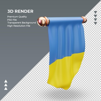 3d bandeira flâmula da ucrânia renderizando a vista esquerda
