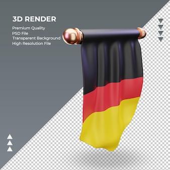 3d bandeira pennant germany renderizando vista esquerda