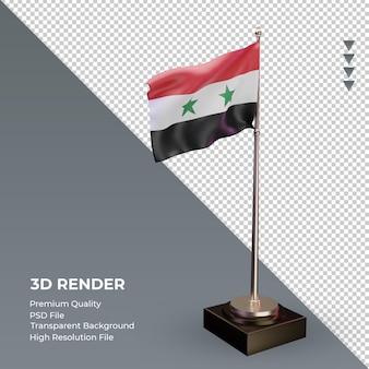 3d bandeira síria renderizando a vista esquerda