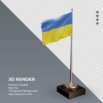 3d bandeira ucrânia renderizando a vista esquerda