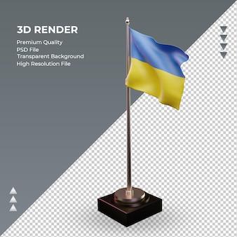 3d bandeira ucrânia renderizando vista correta