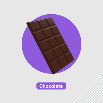 3d barra realista de chocolate ao leite