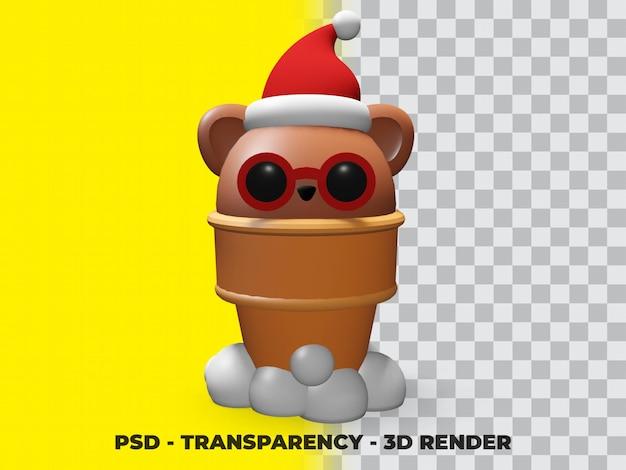 3d bear ice cream com transparência de fundo
