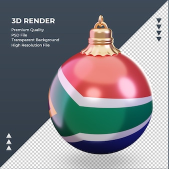 3d bola de natal, bandeira da áfrica do sul renderizando a vista certa