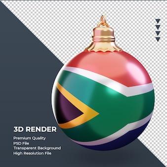 3d bola de natal bandeira da áfrica do sul renderizando vista esquerda