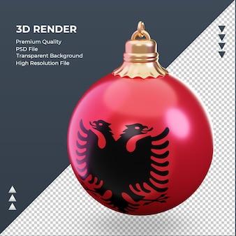 3d bola de natal, bandeira da albânia renderizando a vista certa
