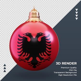 3d bola de natal, bandeira da albânia, renderizando, vista frontal
