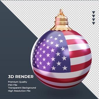 3d bola de natal bandeira da américa renderizando a vista esquerda