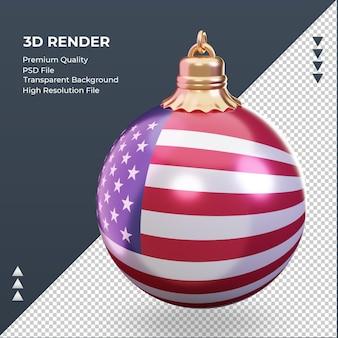 3d bola de natal bandeira da américa renderizando vista direita