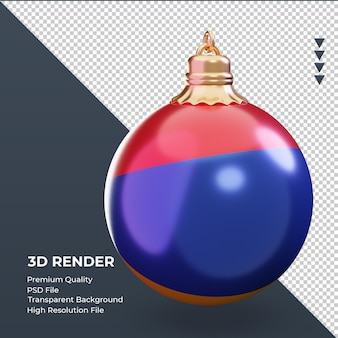 3d bola de natal bandeira da armênia renderizando vista esquerda