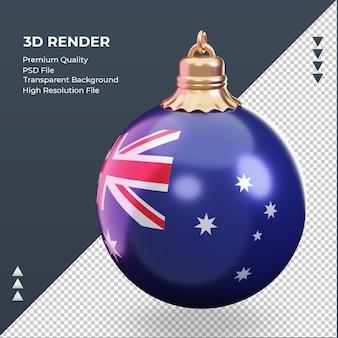 3d bola de natal bandeira da austrália renderizando vista correta