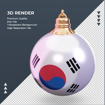 3d bola de natal bandeira da coreia do sul renderizando vista direita