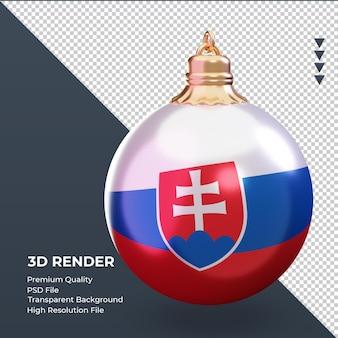 3d bola de natal bandeira da eslováquia renderizando a vista esquerda