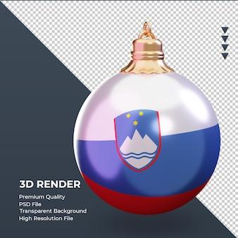 3d bola de natal bandeira da eslovênia renderizando vista esquerda