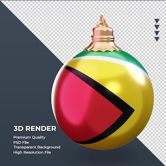3d bola de natal bandeira da guiana renderizando vista esquerda