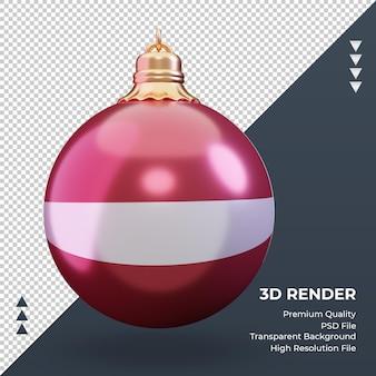 3d bola de natal, bandeira da letônia, renderizando, vista frontal