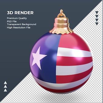 3d bola de natal, bandeira da libéria, renderizando a vista certa