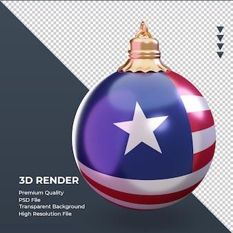 3d bola de natal bandeira da libéria renderizando a vista esquerda