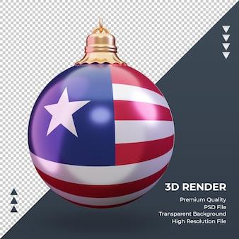3d bola de natal, bandeira da libéria, renderizando, vista frontal