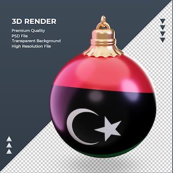 3d bola de natal bandeira da líbia renderizando vista direita