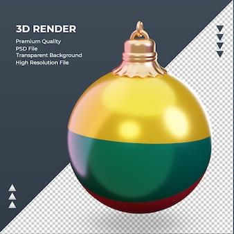 3d bola de natal, bandeira da lituânia, renderizando a vista certa