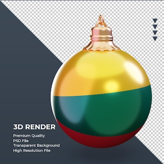 3d bola de natal bandeira da lituânia renderizando vista esquerda