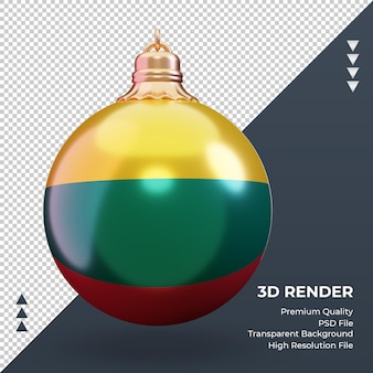 3d bola de natal bandeira da lituânia renderizando vista frontal
