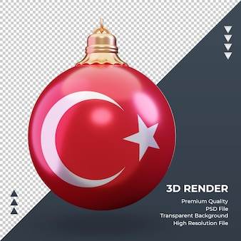 3d bola de natal, bandeira da turquia, renderização vista frontal