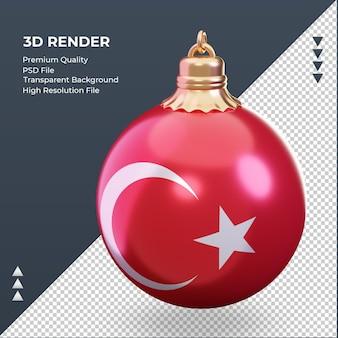 3d bola de natal, bandeira da turquia, renderizando a vista certa