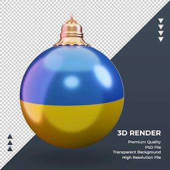 3d bola de natal bandeira da ucrânia renderização vista frontal