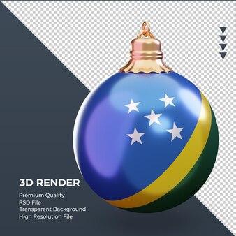 3d bola de natal bandeira das ilhas salomão renderizando vista esquerda