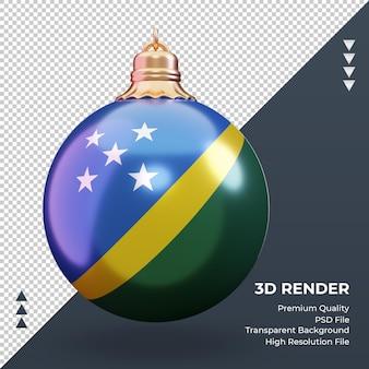 3d bola de natal bandeira das ilhas salomão renderizando vista frontal